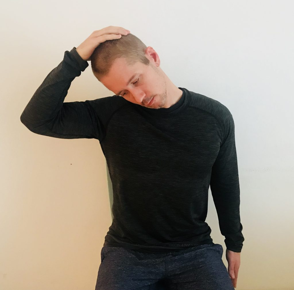 The lateral neck stretch is perfect for relieving the tension in your neck to help your headaches.