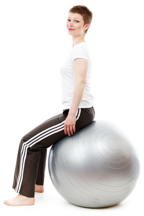 Sitting on an exercise ball at your computer is a great way to engage your core and improve your posture, preventing pain