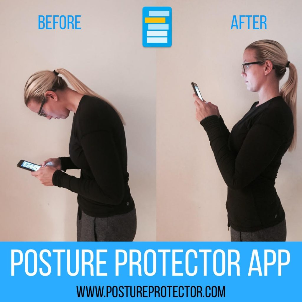 The Posture Protector App alerts you when you have poor posture while using your mobile device.